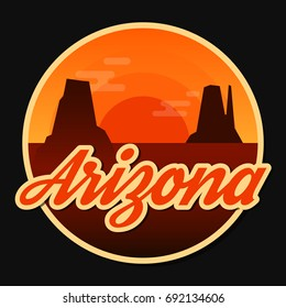 Travel Arizona destination retro round icon, emblem, sticker or badge in cartoon flat style with shadow. Day in Monument Valley, USA.