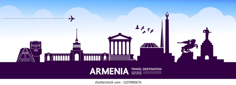 Travel to Armenia vector illustration.