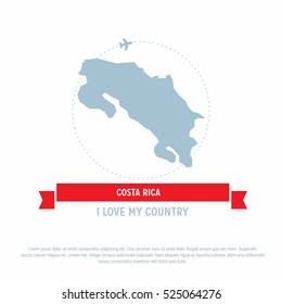 Travel around the Costa Rica Country map Ribbon banner with map and airplane template. vector illustration