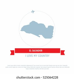 Travel around the El Salvador Country map Ribbon banner with map and airplane template. vector illustration