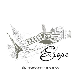 Travel around European sights. Hand drawn illustration.