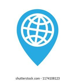 Travel around the globe, location pin