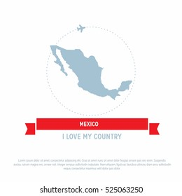 Travel around the Mexico Country map Ribbon banner with map and airplane template. vector illustration