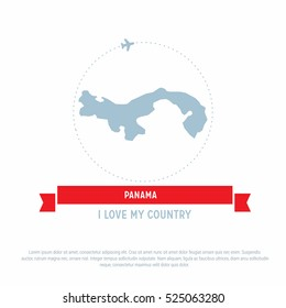 Travel around the panama Country map Ribbon banner with map and airplane template. vector illustration