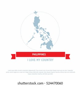 Travel around the Phillipines Country map Ribbon banner with map and airplane template. vector illustration