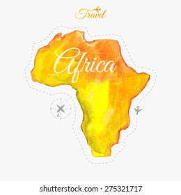 Travel around the  world. Africa. Watercolor map