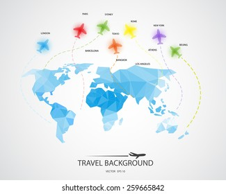 travel around the world background, abstract map,  Tourism concept image. Holidays and vacation.Sea, ocean, land, , beach, air traveling.