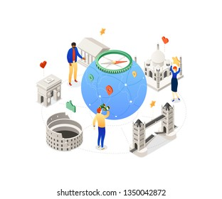 Travel around the world - colorful isometric illustration with famous landmarks, architecture, tourists, the globe, compass, smm symbols. Tower bridge, Taj Mahal, Parthenon, Triumphal arch, Colosseum