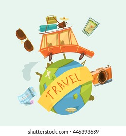Travel around the world concept with car tickets and camera cartoon vector illustration