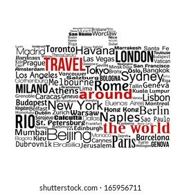 Travel around the world concept made with words drawing a suitcase, vector illustration