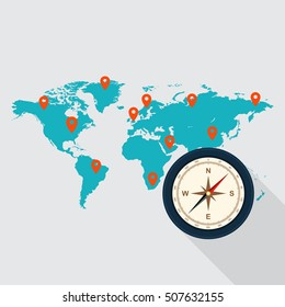 Travel around the world concept, map and compass flat design, business trip, holiday, vector illustration