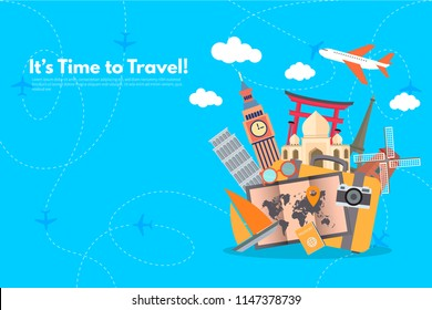 Travel around the world with different travel landmarks. It's Time to Travel text. Travel concept background. Flat design vector illustration.