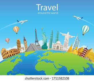 Travel around  the world of Europe, Asia and America. Famous landmarks in global. vector illustration modern flat design. Tourism business.