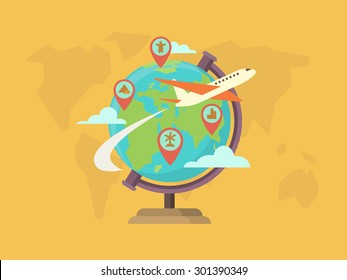 Travel around the world. Globe map, pin location, navigation and route, vector illustration