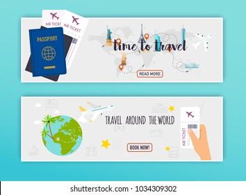 Travel around the World. Online booking ticked. Buy Ticket Online.  Flat design modern vector illustration concept.