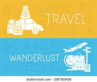 travel around the world set icons