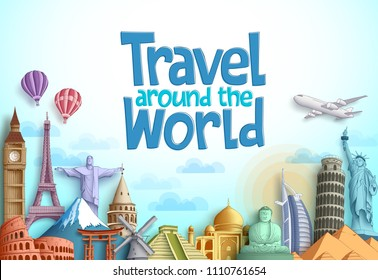 Travel around the world vector background design with famous landmarks and tourist destination elements in different places for tourism. Vector illustration.