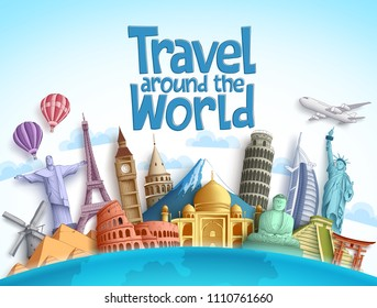 Travel around the world vector design with famous landmarks and tourist destination of different countries and places in blue background. Vector illustration.