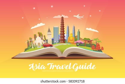 Travel to Asia. Road trip. Tourism. Open book with landmarks. Asia Travel Guide. Advertising web illustration. Summer vacation. Travelling banner. Modern flat design. EPS 10. #4