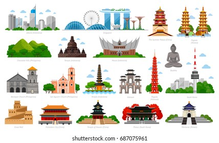 Travel to Asia. Singapore, Indonesia (Bali), China, South Korea, Taiwan, Vietnam. Big collection of famous landmarks. Cityscape, buildings, attractions. Vector flat illustration.