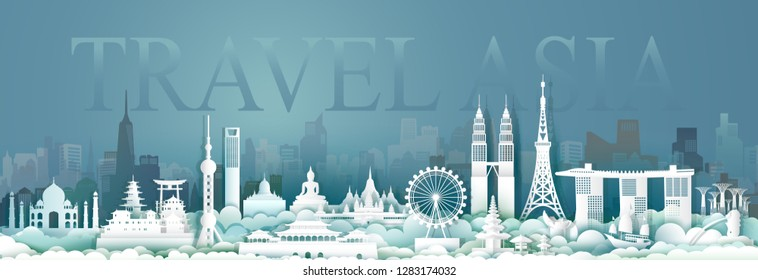 Travel Asian architecture culture in capital city with symbol and modern building, Traveling cityscape and ancient, Tour Asia archaeological site, Paper cut and paper origami style,Vector illustration