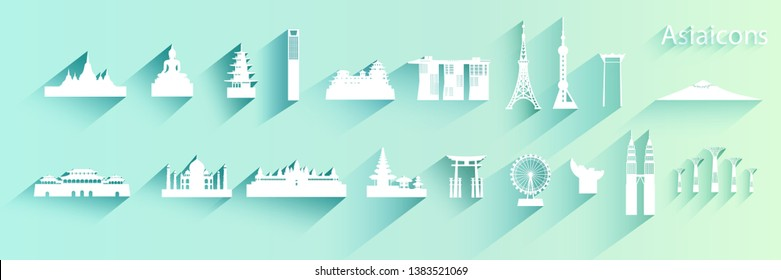 Travel Asian architecture of Icon set symbol on blue background with long shadow,  Travel Asia landmarks with icon and symbol collection, Paper cut origami and paper art, Vector logo illustration.