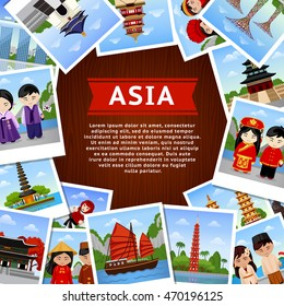 Travel to asian countries. Collage of photos on a  wooden surface. Square banner with place for text.