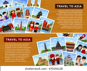 Travel to asian countries. Collage of photos on a  wooden surface. Horizontal web banners with place for text. China, Indonesia, Bali, South Korea, Vietnam, Taiwan. Vector flat illustration.