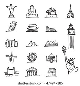 Travel attractive landmark cartoon drawing icons set