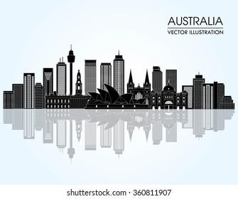 Travel Australia famous landmarks skyline. Vector illustration