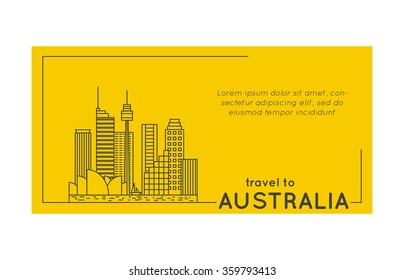 travel to australia quote style postcard. line flat modern vector illustration
