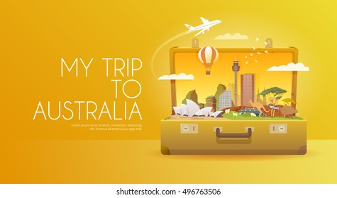 Travel to Australia. Road trip. Tourism. Open suitcase with landmarks. Horizontal advertising web banner. Modern flat design.