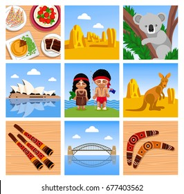 Travel to Australia. Symbols, animals, food, musical instruments, places, people. Set of square vector illustrations.