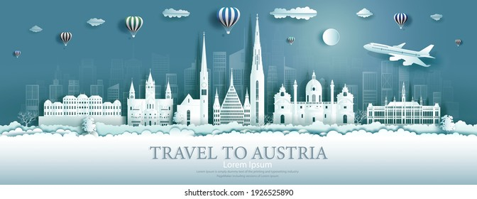 Travel Austria landmarks in vienna city with balloons, Tour landmark the world to history with panorama view cityscape popular capital, Origami paper cut style for advertising,Vector illustration.