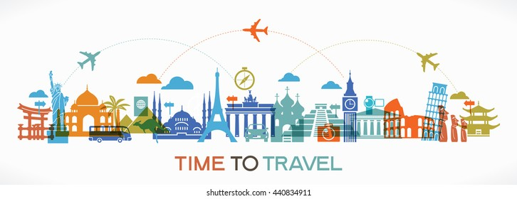 Travel background. Colorful template with icons tourism and landmarks.