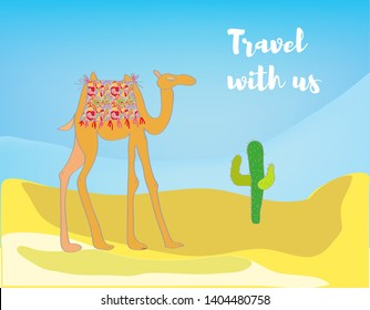 Travel background with desert and camel. Vector graphic illustraiton