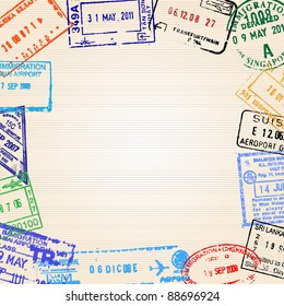 Travel background with different passport stamps. Vector