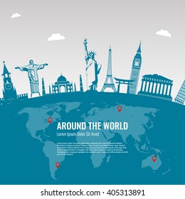 Travel background with famous World Landmarks icons. Vector Illustration
