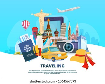 Travel background illustration of different world landmarks. Vector travel and tourism, trip to europe, famous architecture