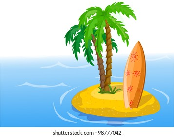 Travel background, palm and surfboard