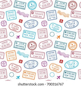 Travel background - passport stamps collage. Fictitious stamps set.
