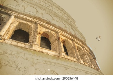 Travel background in vector format. Modern stylish painting with watercolor and pencil. Colosseum (Coliseum) in Rome, Italy. The Colosseum is an important monument of antiquity.