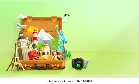 Travel background, vector illustration