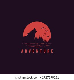 """travel badge with pine trees textured vector illustration and """"adventure"""" inspirational, animal deer vector, animal wolf vector, logo vector"""