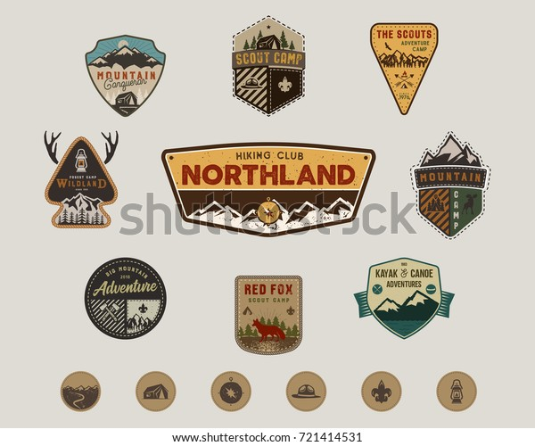 Travel badges collection. Scout camp emblem set and hiking stickers, icons. Vintage hand drawn designs. Stock vector illustration, insignias, rustic patches. Isolated