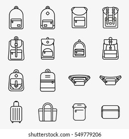 Travel Bag and Backpack Minimal Flat Line Stroke Icon Pictogram Symbol Illustration Set Collection