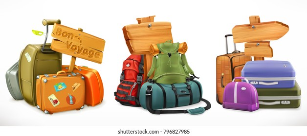 Travel. Bag, backpack, suitcase and wooden sign