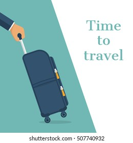 Travel bag in hand. Carrying suitcase. Case hold in hand. Time to travel concept, template banner. Vector illustration flat design. Tourist with suitcase. Isolated on background.