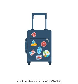 Travel bag with handle on wheels. Time to travel concept, template banner. Vector illustration flat design. Tourist suitcase. Isolated on background. Stickers from all over world, sign of journeys.