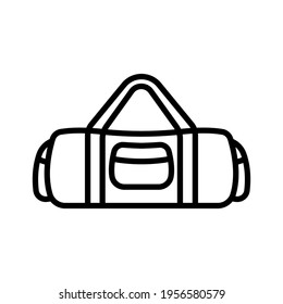 Travel bag icon. Black contour linear silhouette. Front view. Vector simple flat graphic illustration. The isolated object on a white background. Isolate.